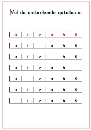 Knipsel vul de ontbrekende getallen in blok 1